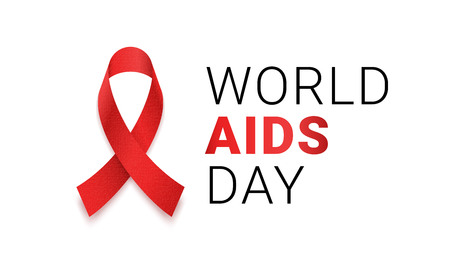 World AIDS day red ribbon logo icon. Vector 1 December HIV and AIDS awareness or solidarity red ribbon symbol or emblem badge on white background for banner or poster Illustration
