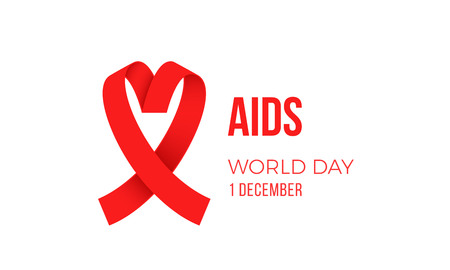 World AIDS day red ribbon logo symbol poster for 1 December awareness poster.