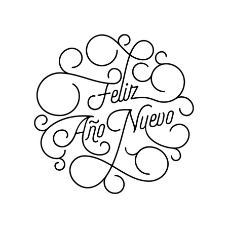 Happy New Year Feliz Ano Nuevo flourish calligraphy lettering of swash line typography for Spanish greeting card design.