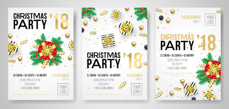 christmas party 2018 new year celebration invitation poster of flyer design templates vector present gift