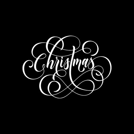 Merry Christmas flourish hand drawn swash calligraphy lettering of ornamental line typography for greeting card design. Vector festive Christmas holiday quote text on black background Vettoriali