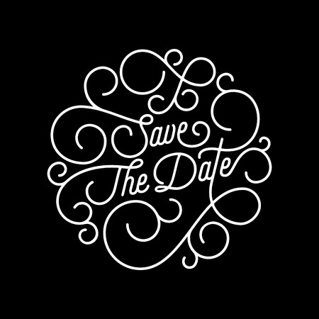engagement party: Save the Date flourish calligraphy lettering of swash line typography for wedding invitation card design. Vector festive ornamental wedding Save Date quote text of swirl pattern on black background Illustration