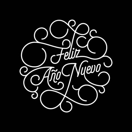 Feliz Ano Nuevo Spanish Happy New Year flourish calligraphy lettering of swash line typography for greeting card design. Vector festive ornamental New Year text quote of white swirl pattern outline