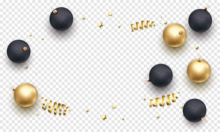 New Year or Christmas greeting card background template of golden ball in gift ribbon or gold glittering stars confetti on premium white transparent. Vector Christmas winter holiday decoration banner