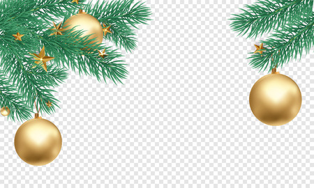 Christmas holiday greeting card background template of golden ball decorations on Christmas tree branches. Vector New Year gold glitter stars confetti on transparent luxury white background Vettoriali