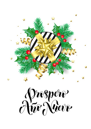 Happy New Year Spanish Prospero Ano Nuevo calligraphy hand drawn text for greeting card background template. Vector Christmas tree holly wreath decoration, golden confetti ribbon premium white design Ilustração