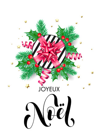 Merry Christmas in French - Joyeux Noel trendy quote calligraphy vector
