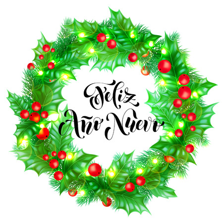 Feliz Ano Nuevo Spanish Happy New Year holiday hand drawn calligraphy text for greeting card background design template. Vector Christmas tree holly wreath decoration and golden lights garland Illustration