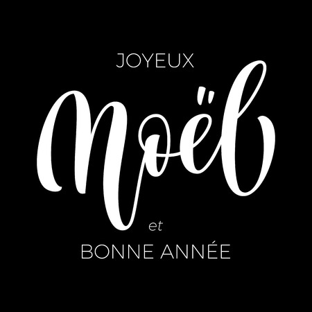 Merry Christmas and Happy New Year Joyeux Noel et Bonne Annee hand drawn calligraphy modern text for French Christmas, New Year greeting card. Vector winter holiday quote lettering on black background Illustration