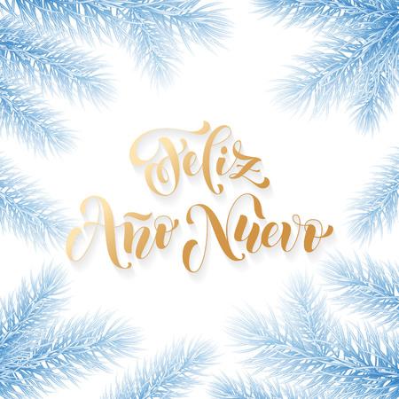 Feliz Ano Nuevo Spanish Happy New Year Golden Calligraphy Hand ...