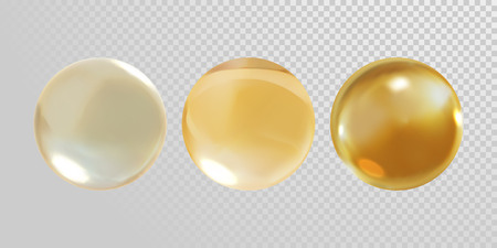 Gold glass ball isolated on transparent background. 3D realistic vector golden oil vitamin E pill capsule crystal glass ball texture Illustration