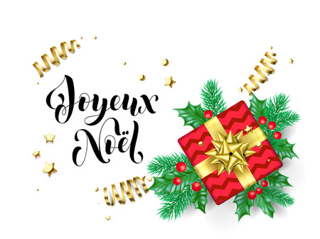 Joyeux Noel Merry Christmas French trendy quote calligraphy on white premium background for winter holiday design template. Vector Christmas tree holly wreath decoration in golden ribbon gift confetti