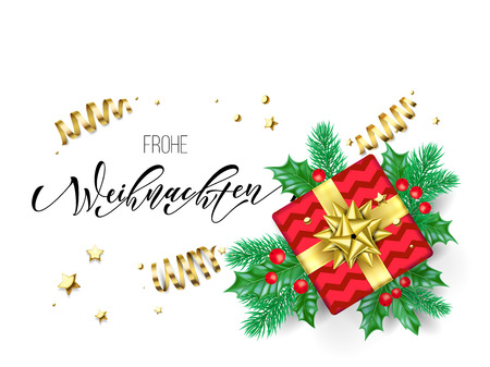 Frohe Weihnachten German Merry Christmas holiday hand drawn quote calligraphy greeting card background template. Vector Christmas tree holly wreath decoration, golden ribbon confetti on white design Illustration