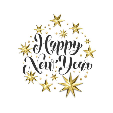 Happy New Year golden decoration, hand drawn calligraphy font for Xmas greeting card or invitation on white background. Vector Christmas winter holiday gold star and snowflake shiny decoration
