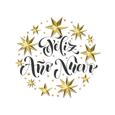 Feliz Ano Nuevo Spanish Happy New Year holiday golden decoration, calligraphy font for Xmas greeting card or invitation on white background. Vector Christmas gold star and snowflake shiny decoration Ilustração