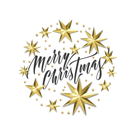 Merry Christmas holiday golden decoration, hand drawn calligraphy font for greeting card or invitation on white background. Vector Christmas or New Year gold star and snowflake shiny decoration