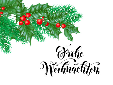 Frohe Weihnachten German Merry Christmas holiday hand drawn calligraphy text for greeting card of wreath decoration and Christmas branch ornament. Vector winter season background design template Illustration