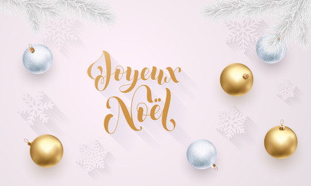 Joyeux Noel French Merry Christmas holiday golden decoration, gold hand drawn calligraphy font for greeting card white background. Vector Christmas or New Year golden shiny Xmas decoration confetti
