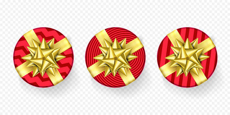 Christmas gift box red present in golden ribbon bow and wrapping paper pattern. Luxury premium round gift boxes set for Christmas, Birthday or New Year holiday greeting card design on white background