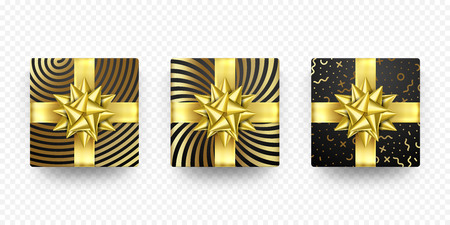 Christmas gift box present in golden ribbon bow and wrapping paper dotted pattern. Vector Christmas gold foil gift boxes set isolated on white background for New Year holiday or Birthday greeting card Illustration