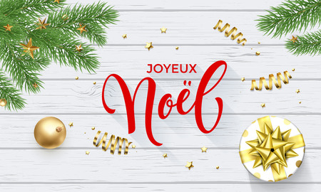Joyeux Noel French Merry Christmas golden decoration and calligraphy font on white wooden background for greeting card. Vector Christmas or New Year gold shiny star on Xmas tree for winter holiday