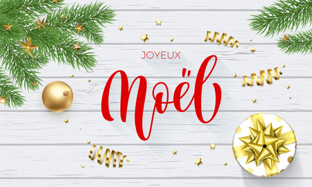 Joyeux Noel French Merry Christmas golden decoration, greeting card calligraphy font on white wooden background. Vector Christmas tree and New Year gift winter holiday gold shiny confetti decoration Illustration