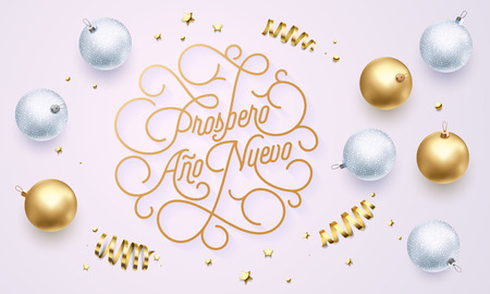 Prospero Ano Nuevo Spanish Happy New Year Navidad flourish golden calligraphy lettering of swash gold greeting card design. Vector golden decoration and Christmas text on holiday black background Ilustração