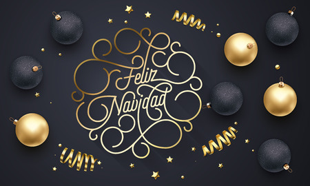 Feliz Navidad Spanish Merry Christmas flourish golden calligraphy lettering of swash gold typography for greeting card design. Vector golden decoration and Christmas text on holiday black background
