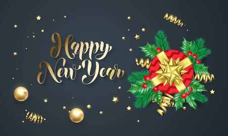 Hppy new year golden decoration and gold font calligraphy greeting hppy new year golden decoration and gold font calligraphy greeting card design vector christmas gift m4hsunfo