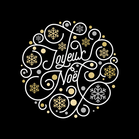 Joyeux Noel French Merry Christmas calligraphy lettering and golden snowflake pattern on white background for greeting card design. Vector golden Christmas flourish swash holiday text decoration