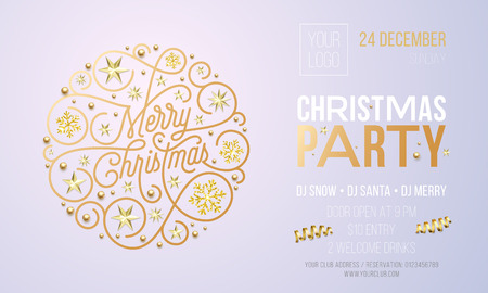 Christmas party invitation card or poster of golden New Year decoration for holiday event design template. Vector calligraphy lettering, gold snowflake decoration on white Xmas party background.