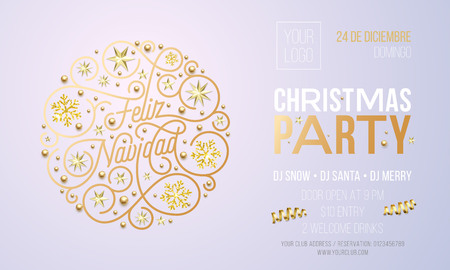 Christmas party invitation for Spanish Feliz Navidad holiday celebration design template. Vector New Year or Xmas corporate party invitation flyer of golden snowflake decoration on white background. Illustration