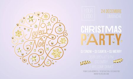 Christmas party invitation for French Joyeux Noel holiday celebration design template. Vector New Year or Xmas corporate party invitation flyer of golden snowflake decoration on white background.