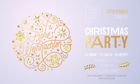 Christmas party invitation for German Frohe Weihnachten holiday celebration design template. Vector New Year or Xmas corporate party invitation flyer of golden snowflake decoration on white background