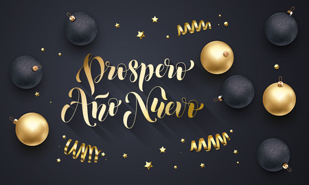 Prospero Anno Nuevo Spanish New Year golden decoration, hand drawn gold calligraphy font for greeting card black background. Vector Christmas holiday gold star shiny confetti decoration