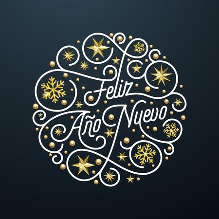 フェリズアノヌエボスペインハッピー新年ナビダ通りレタリング、グリーティングカードのための黒の背景に金色の雪片の星模様の装飾。ベクトル