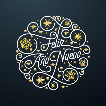 Feliz Ano Nuevo Spanish Happy New Year Navidad calligraphy lettering, golden snowflake star pattern decoration on black background for greeting card. Vector golden Christmas flourish holiday text