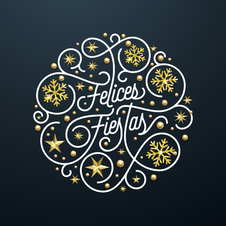 Felices Fiestas Spanish Happy Holidays Navidad calligraphy lettering and golden snowflake star pattern decoration on black background for greeting card. Vector golden Christmas flourish holiday text