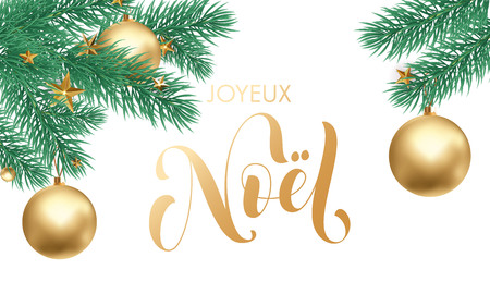 Joyeux Noel French Merry Christmas holiday golden hand drawn calligraphy text greeting and gold star or ball on fir tree branch in white snow for card design. Vector Christmas golden lettering font Illustration