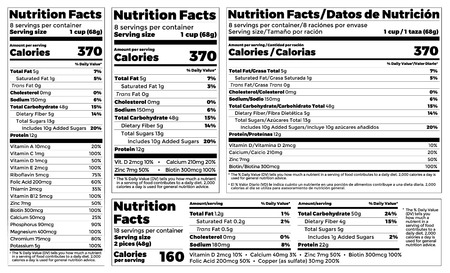 Nutrition Facts Label design template for food content. Vector serving, fats and diet calories list for fitness healthy dietary supplement, protein sport nutrition facts American standard guideline.