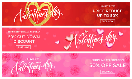 Valentine Day sale banners design template. Vector golden glitter heart on pink flowers background for Valentines fashion sale shopping season discount offer or love day price reduced background.