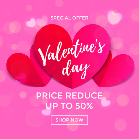 Valentine Day sale poster or banner of red paper hearts design template. Vector red pink bokeh light or blurred background for Valentines fashion shopping season sale discount offer price background