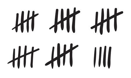 Las marcas de conteo cuentan o el contador de líneas de palos de pared de la prisión. Vector iconos de marcas de hash de cárcel o isla desierta números de conteo de días perdidos contando en líneas de barra