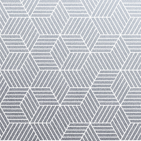 Geometric silver 3D cubes seamless pattern with glitter texture of abstract line mesh on white background. Vector silver glittering ornament for woven textile tile or modern backdrop swatch design