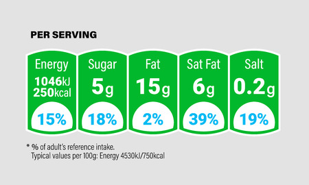 Nutrition Facts information label for cereal box package or milk drinks and food. Vector daily value ingredient amounts guideline design template for calories, cholesterol and fats in grams percent 일러스트