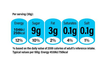 시리얼 팩 포장에 대한 영양 정보 정보 라벨. 벡터 일일 재료 성분량 식품 및 우유 패키지의 칼로리, 콜레스테롤 및 지방에 대한 가이드 라인 디자인 템