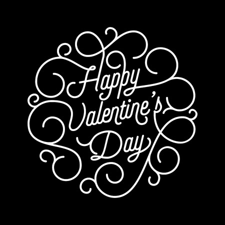 Valentine Day greeting card swash calligraphy text for greeting card design template. Vector Happy Valentines Day black ornate lettering on black background for 14 February Valentine holiday