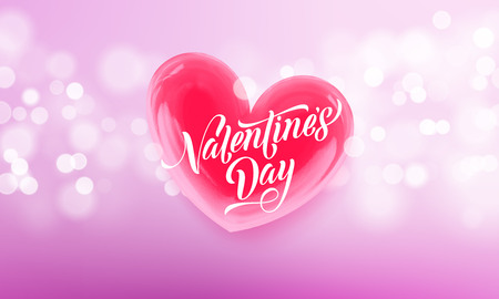 Happy Valentines day lettering text and valentine red crystal heart for greeting card background. Vector Valentines day greeting card design template of pink shining light