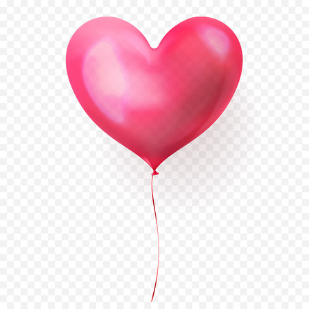 Heart balloon isolated glossy icon for Valentines Day, wedding or birthday greeting card design template. Vector 3D heart helium balloon decoration on transparent background