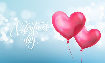 Happy Valentines day lettering text and Valentine red crystal heart for greeting card background vector Valentines day greeting card design template of blue light shine.